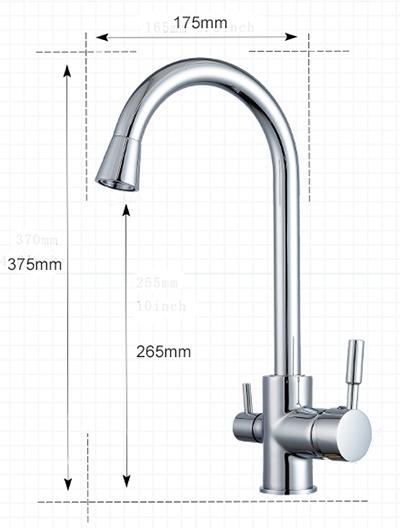 RO víztisztítóhoz konyhai csaptelep 3-utas klasszikus kivitel Íves Inox