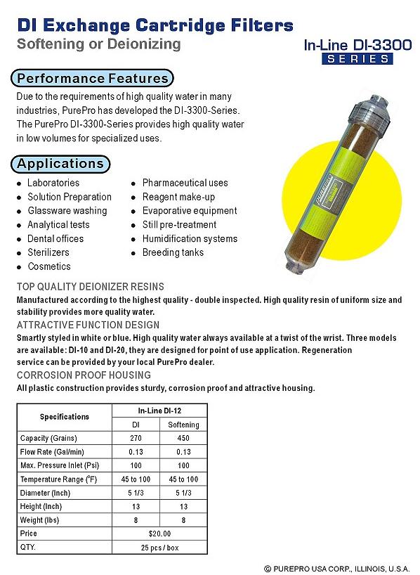 PurePro DI kevertágyas műgyantás vízlágyító
