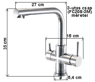 RO víztisztítóhoz konyhai csaptelep 3-utas modern kivitel Hajlított Inox